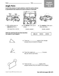 Angle Pairs: ELL Worksheet
