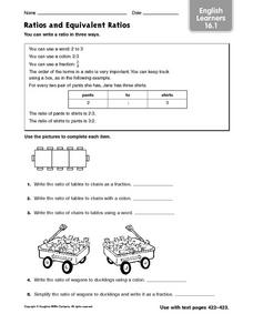 Ratios and Equivalent Ratios: ELL Worksheet