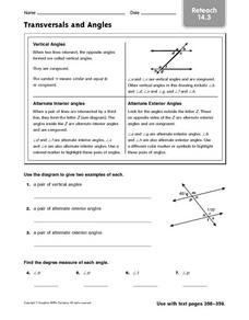 Transversals and Angles Worksheet