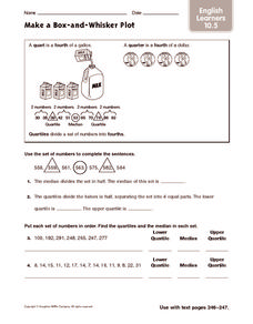 Make a Box and Whisker Plot: English Learners Worksheet