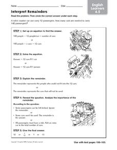 interpreting the remainder lesson plans worksheets. Black Bedroom Furniture Sets. Home Design Ideas