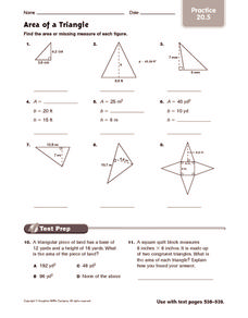 Area of a Triangle: Practice Worksheet