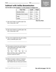 Subtract With Unlike Denominators: Problem Solving Worksheet