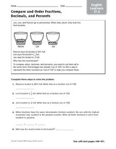 Compare and Order Fractions, Decimals, and Percents ELL 17.3 Worksheet