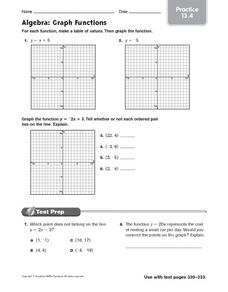 Algebra: Graph Functions practice 13.4 Worksheet for 5th ...