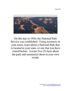 The National Park Service: August 25, 1916 Worksheet