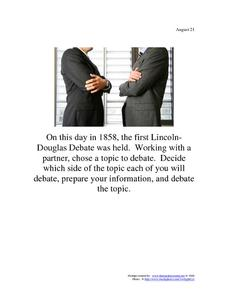 Lincoln-Douglas Debate: August 21, 1858 Worksheet