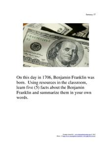 Benjamin Franklin: January 17, 1706 Worksheet