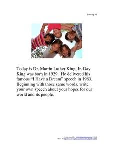 Dr. Martin Luther King, Jr. Day: January 19, 1929 Worksheet