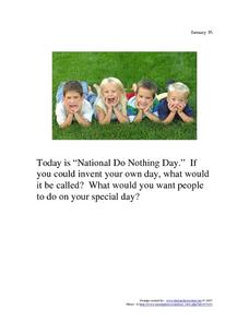 National Do Nothing Day: January 16 Writing Prompt
