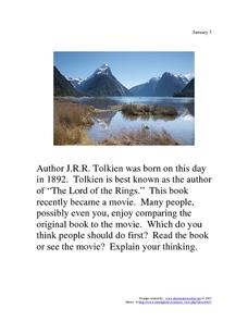 J.R.R. Tolkien: January 3, 1892 Worksheet