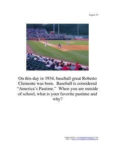 Roberto Clemente: August 18, 1934 Worksheet