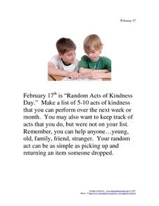 Random Acts of Kindness Day: February 17th Writing Prompt