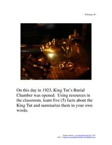 King Tut's Burial Chamber: February 16, 1923 Worksheet