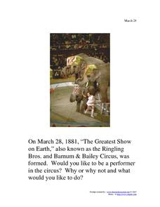 Ringling Brothers and Barnum & Bailey Circus: March 28, 1881 Worksheet