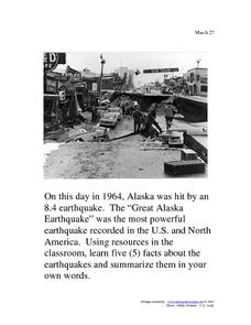 The Great Alaska Earthquake: March 27, 1964 Worksheet