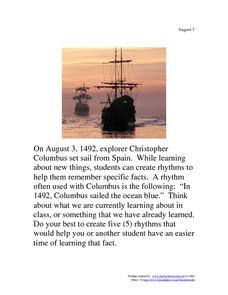 Christopher Columbus: August 3, 1942 Worksheet