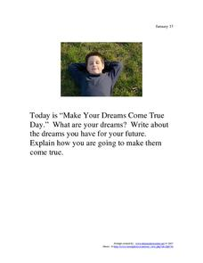 Make Your Dreams Come True Day: January 13 Worksheet