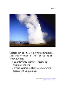 Yellowstone National Park: March 1, 1872 Worksheet
