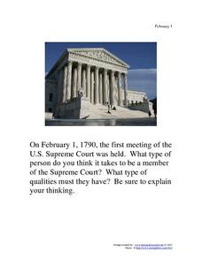 U.S. Supreme Court: February 1, 1790 Writing Prompt