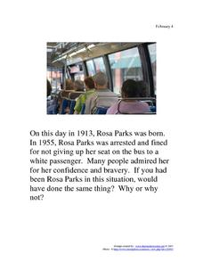 Rosa Parks: February 4, 1913 Worksheet