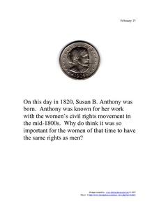 Susan B. Anthony: February 15, 1820 Worksheet