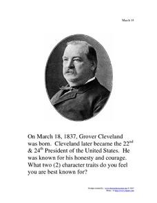 Grover Cleveland: March 18, 1837 Worksheet