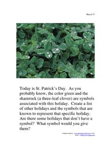 St. Patrick's Day: March 17th Worksheet
