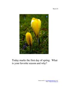 First Day of Spring: March 20th Worksheet