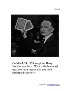 Harry Houdini: March 24, 1874 Worksheet