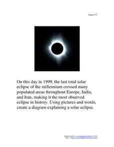 Total Solar Eclipse: August 11, 1999 Worksheet