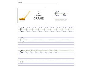 Handwriting: C is for Crane Worksheet