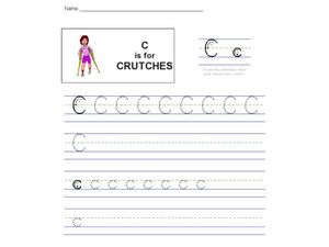 Handwriting: C is for Crutches Worksheet