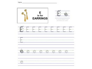 E is for Earrings: The Letter E Worksheet