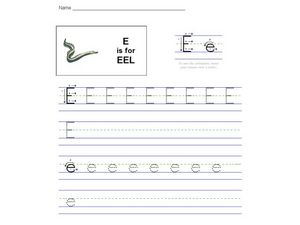 E is for Eel: The Letter E Worksheet for Pre-K - 2nd Grade | Lesson ...
