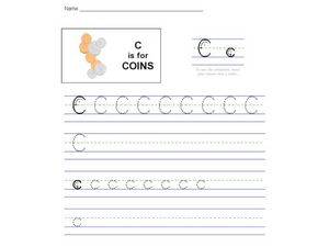 C is for Coins: The Letter C Worksheet