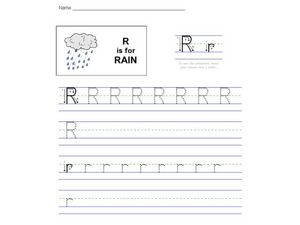 R is for Rain: The Letter R Worksheet