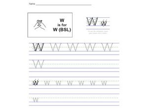 W is for W (BSL) Worksheet