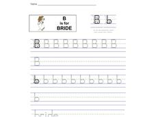B is for Bride: Letter Bb Worksheet