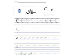 Handwriting: C is for Cabinet Worksheet