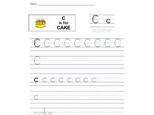 Handwriting: C is for Cake Worksheet