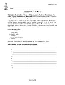 Conservation of Mass Lesson Plan