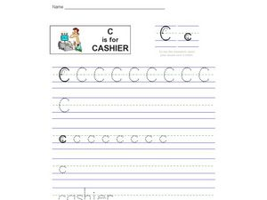 Handwriting: C is for Cashier Worksheet