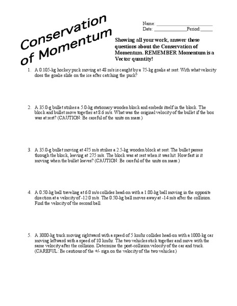 Conservation of Momentum Worksheet for 9th - Higher Ed ...