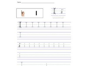 I (With American Sign Language Graphic) Worksheet