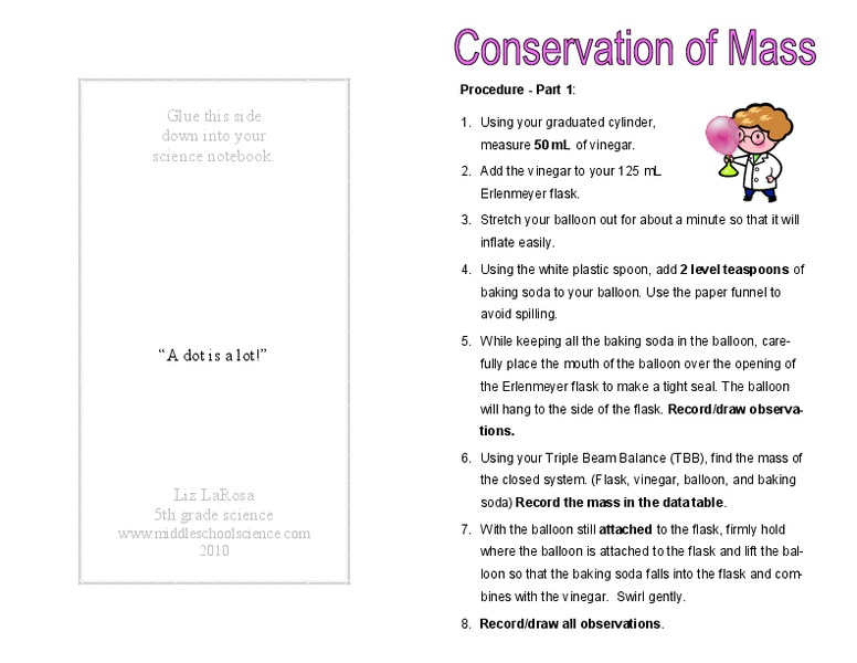 Conservation Of Mass Worksheet For 6th 8th Grade Lesson Planet