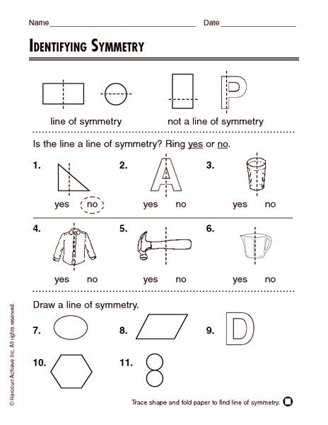 Identifying Symmetry Worksheet for 1st - 2nd Grade | Lesson ...