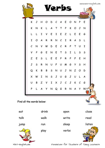 ESL Verb Word Search Worksheet For 3rd - 4th Grade Lesson Planet