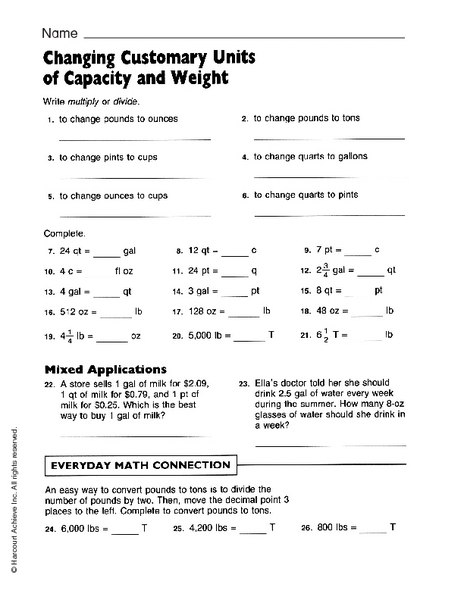 changing customary units worksheet for 3rd 4th grade. Black Bedroom Furniture Sets. Home Design Ideas