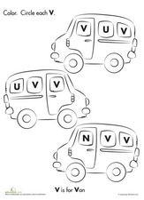 V Is For Van Worksheet